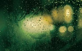 Picture glass, drops, macro, rain, texture, drop, green Wallpaper