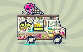 Wallpaper color, puddle, ice cream, stickers, Van
