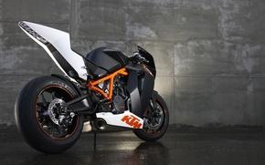 Picture asphalt, wall, sport, wheel, motorcycle, moto, bike, KTM, 1190 RC8-x