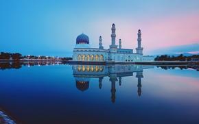 Wallpaper reflection, Malaysia, mirror, twilight, Likas Bay, Kota Kinabalu city Mosque, sand road, the Likas mosque, ...
