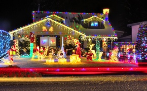Picture winter, decoration, lights, New year, house, garland, winter, New Year, decorations, garland