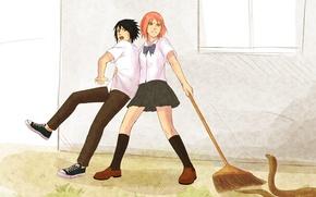 Picture fright, snake, naruto, art, Sasuke Uchiha, Sakura Haruno