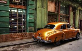 Picture retro, street, Windows, home, car, Cuba, Havana