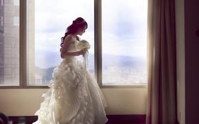 Wallpaper girl, room, bouquet, dress, Asian