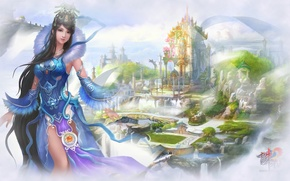 Wallpaper girl, landscape, fog, China, East, beauty, China, fantasy, bridges, sky, mountains, clouds, Jade dynasty, MMORPG, ...