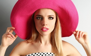 Picture eyes, look, face, background, model, hair, hat