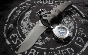 Picture watch, knife, fabric, Knives & Wristwatch