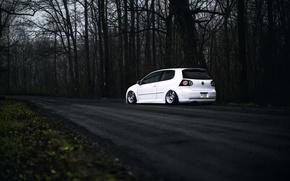 Picture Volkswagen, white, Golf, GTI, Stance, MK5