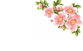 Picture flowers, sprig, spring, art
