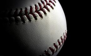 Picture the ball, baseball, seam