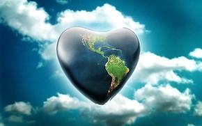 Wallpaper earth, the sky, planet, heart