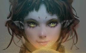 Picture girl, magic, elf, yellow eyes