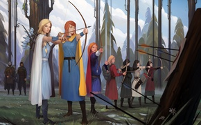 Picture girls, bow, art, arrows, oddleif, banner saga