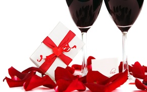 Picture love, gift, wine, roses, glasses, love, heart, romantic, Valentine's Day