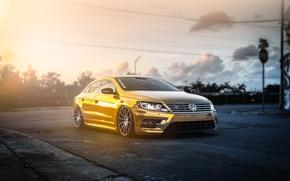 Picture volkswagen, gold, gold, tuning, front, Volkswagen, passat, Passat