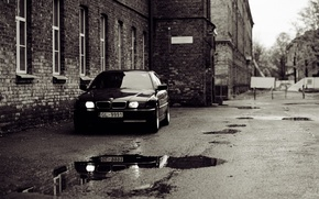 Picture house, overcast, street, bmw, the evening, yard, puddles, Boomer, seven, e38, bumer