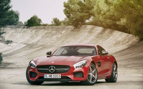 Picture Mercedes-Benz, red, AMG, GT 2016