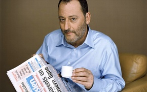 Wallpaper Jean Reno, newspaper, coffee, Actor, Cup
