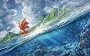 Picture sea, water, flight, hills, dragon, art
