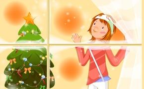 Wallpaper holiday, Christmas, girl, herringbone