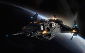 Wallpaper Carrack, Star Citizen, space ship