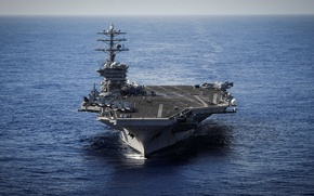 Wallpaper aircraft, horizon, staff, USS Nimitz (CVN 68), deck, American, the sky, the carrier, The Pacific ...