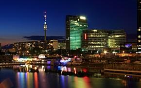Picture night, lights, river, building, Austria, lights, Vienna, Vienna