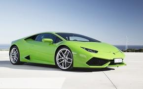 Picture coast, Lamborghini, green, Huracan