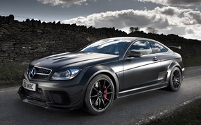 Picture road, the sky, black, coupe, Mercedes-Benz, Mercedes, AMG, Coupe, the front, Black Series, C63, AMG