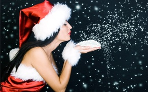 Picture snowflakes, Girl, New Year
