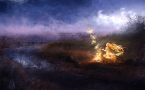 Picture girl, night, fog, river, fire, magic, art