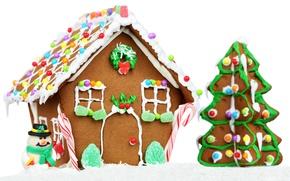 Wallpaper house, holiday, balls, tree, new year, cake, snowman, Christmas toys, edible