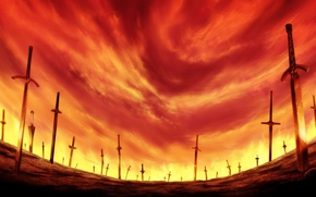Wallpaper field, the sky, glow, swords, bloody