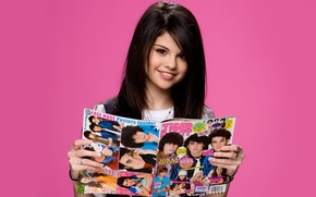 Picture background, makeup, actress, brunette, hairstyle, singer, journal, keeps, Selena Gomez, smiling, Selena Gomez, in the …