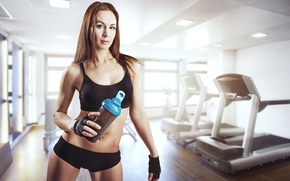 Wallpaper woman, gym, sportswear, physical activity, sports drinks
