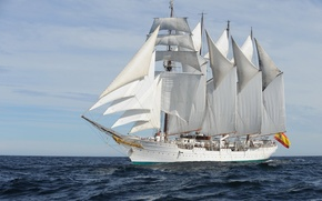 Picture sea, wave, ship, training, Juan Sebastián Elcano, (A-71), Brigantine