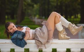 Picture girl, sexy, brunette, blouse, boots, skirt, dzhinsovka, Audrey, beautiful legs