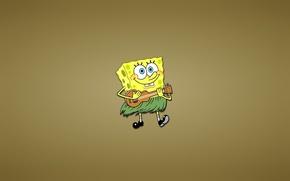 Picture smile, SpongeBob SquarePants, a reed, fun, Sponge Bob square pants, ukulele