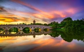 Picture sunset, bridge, lake, reflection, Singapore, pond, Singapore, Chinese Garden, Chinese garden