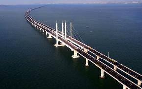 Picture China, China, Bridge Qingdao Gaiwan, Tsindao, Qingdao Bay Bridge
