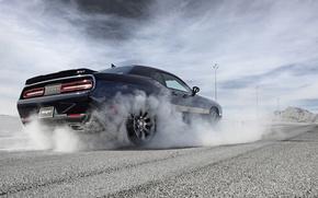 Picture The sky, Road, Smoke, Dodge, Challenger, Hemi, Muscle Car, 2015, Srt, Slip