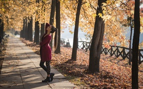 Picture autumn, girl, pose, Park, Federica