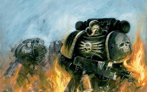 Picture flame, flame, Warhammer, space Marines, Warhammer 40k, space marines