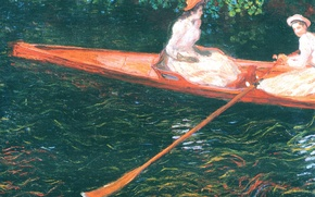Wallpaper Claude Monet, genre, Pink Boat. Boating on the River Epte, picture