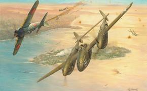 Picture war, art, painting, aviation, Lockheed P-38 Lightning, ww2, combat, dogfight, Mitsubishi A6M5 Reisen