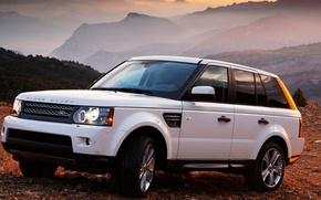 Wallpaper machine, mountains, cars, auto, white, range rover, sunset
