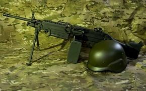 Picture weapons, helmet, machine gun, manual, M249, Minimi