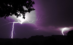 Picture the storm, the sky, element, lightning, silhouettes