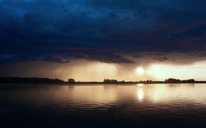 Wallpaper sea, Ominous, clouds, sunset