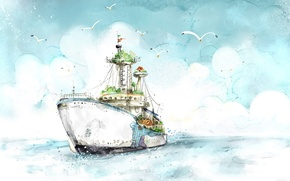 Wallpaper Ship, Seagulls, Figure
